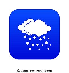 Cloud and snow icon digital blue