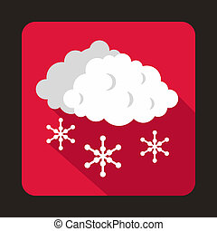 Cloud and snowflakes icon, flat style