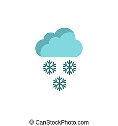 Cloud and snowflakes icon in flat style