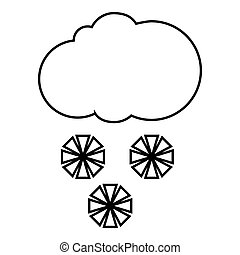 Cloud and snowflakes icon, outline style