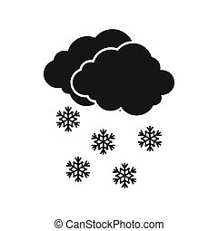 Cloud and snowflakes icon, simple style