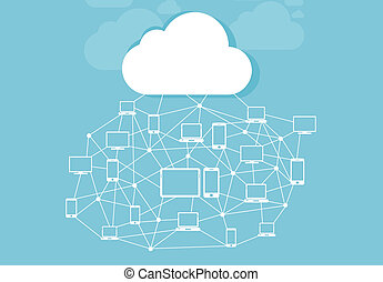 Cloud and storage of information with icons networked.
