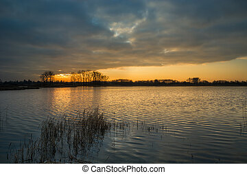 Cloud and sunset over a calm lake with reeds