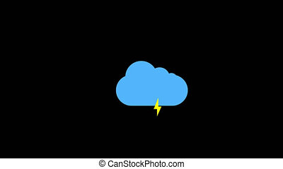 Cloud and thunderstorm icon animation with black background....