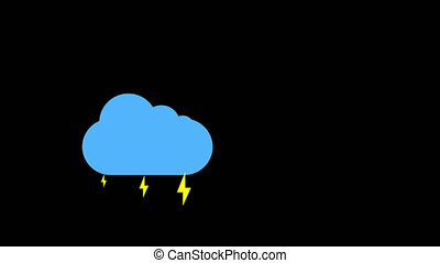 Cloud and thunderstorm icon animation with black background. Animation with Alpha (transparent background) for easy use in your video! Format: Quik Time. Channels: RGB+Alpha. Video Codec: Apple Pro Res 4444. Depth: Millions of Colors+. Icon design. Video Animation. Bright Sun Isolated Cartoon Animation