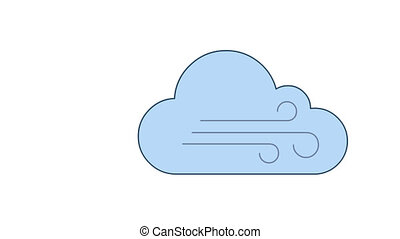 Cloud and wind blowing in blue sky line art vector animation. Air wave, breeze. Cloudy and windy weather forecast, meteorology simple contour icon video. Storm overcast motion graphics