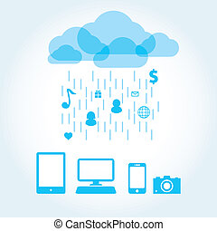 cloud app icon mobile phone vector - cloud app icon on...