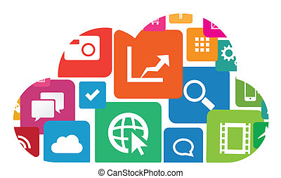 Cloud App - This image is a vector file representing an app...