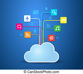 Cloud Apps - This image is a vector file representing a...