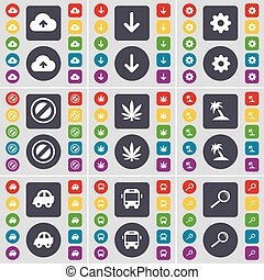 Cloud, Arrow down, Gear, Stop, Marijuana, Palm, Car, Bus, Magnifying glass icon symbol. A large set of flat, colored buttons for your design. Vector