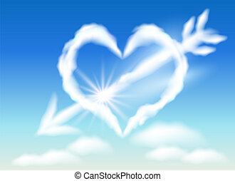 Cloud heart in the sky and arrow