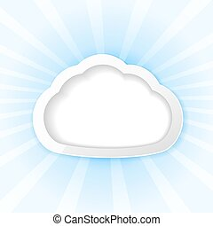 cloud as frame on rays background
