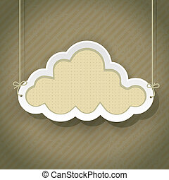 cloud as retro sign on vintage background