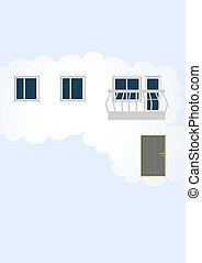cloud., astrazione, casa