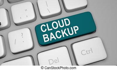 Cloud backup keyboard key animation shot clip