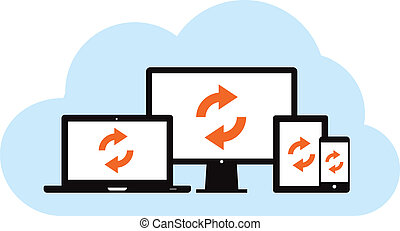 Cloud Backup Sync - This image is a vector file representing...