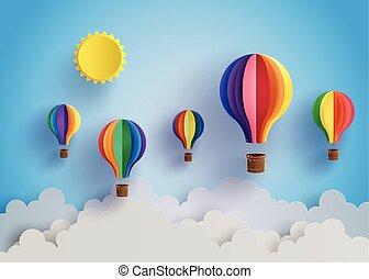 cloud., balloon, ar, quentes, coloridos
