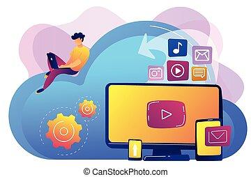 Cloud based engine concept vector illustration. - Digital...