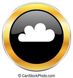 Cloud black web icon with golden border isolated on white background. Round glossy button.