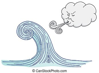 Cloud Blowing Windy Tidal Wave Cartoon