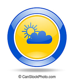 cloud blue and yellow web glossy round icon