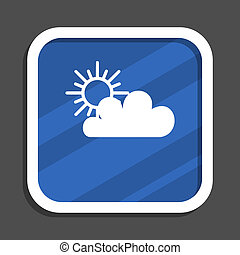 Cloud blue flat design square web icon