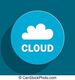 cloud blue flat web icon
