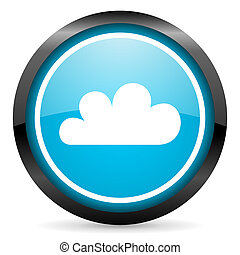 cloud blue glossy circle icon on white background