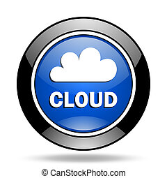 cloud blue glossy icon