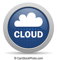 cloud blue glossy web icon