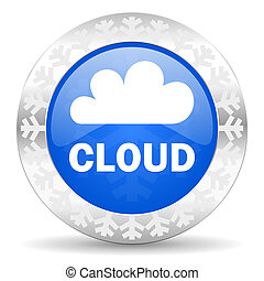 cloud blue icon, christmas button