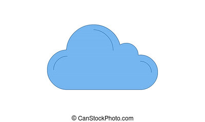 Cloud blue line art vector animation. Cloudscape, weather forecast and meteorology simple contour icon video. Cloudy day overcast, climate color motion graphics