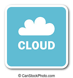 cloud blue square internet flat design icon
