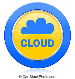 cloud blue yellow icon