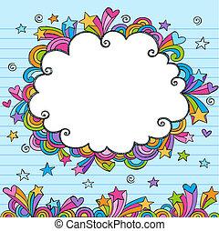 Cloud Rainbow Colored Frame Sketchy Doodle- Hand-Drawn Notebook Doodles Design Elements on Lined Sketchbook Paper Background- Vector Illustration