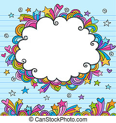 Cloud Border Frame Sketchy Doodle - Cloud Rainbow Colored...