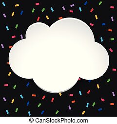 Cloud border template with confetti background