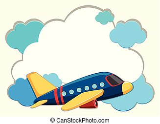 Cloud border with blue airplane