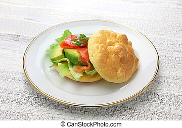 cloud bread is no carb bread. it made with eggs, cream cheese, cream of tartar.