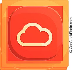 Cloud button interface icon, cartoon style
