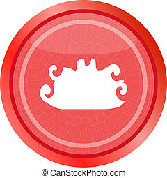 cloud button, web icon isolated on white