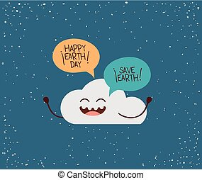 cloud character with speech bubble earth day celebration