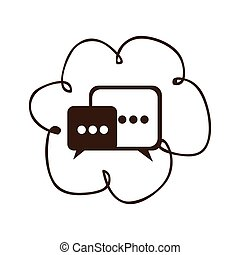 cloud chat bubbles icons sercive