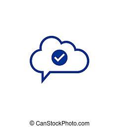 cloud check Icon computing concept vector illustration