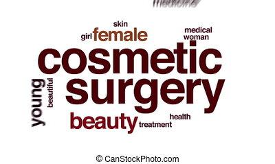 cloud., chirurgie, animé, mot, cosmétique