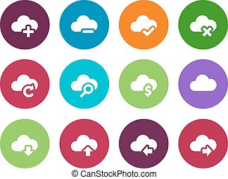 Cloud circle icons on white background.
