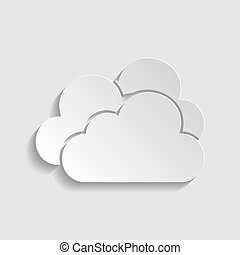 Cloud, Cloudy sign. Paper style icon. Illustration.
