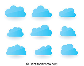 Cloud collection - Set of nine fluffy modern cloud...