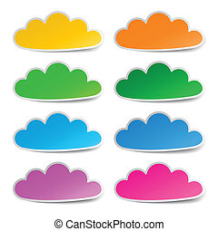 Cloud colorful stickers set