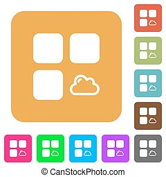 Cloud component rounded square flat icons
